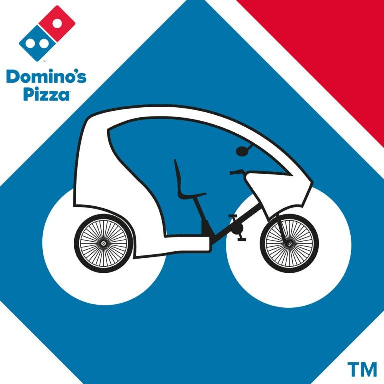 Habillage graphique de cyclotaxi pour Domino's Pizza